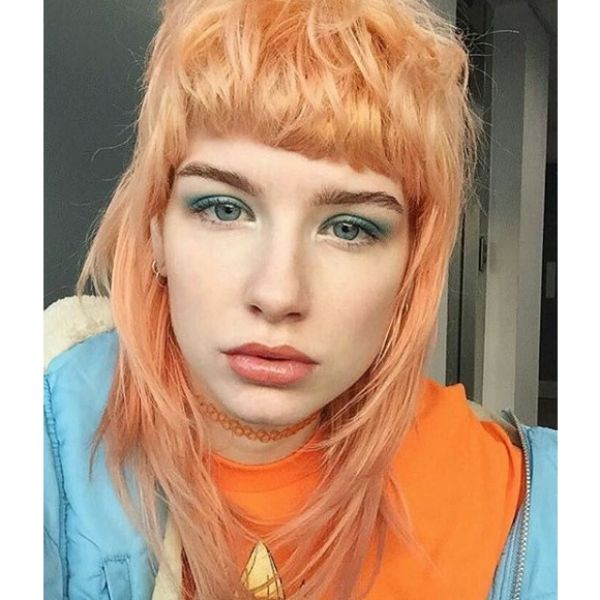 Peach Blonde Mullet with Straight Bangs Medium Length Hairstyles