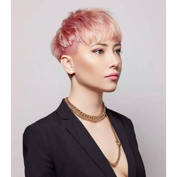 Peach Pink Disjointed Undercut with Straight Bangs