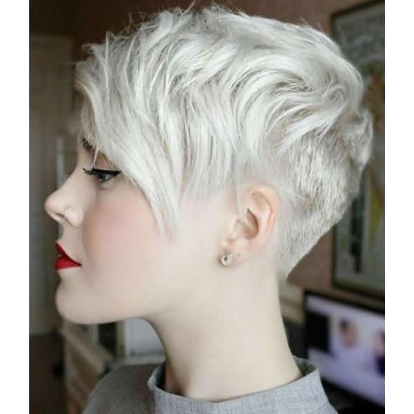 Platinum Blonde Messy Short Pixie Cut