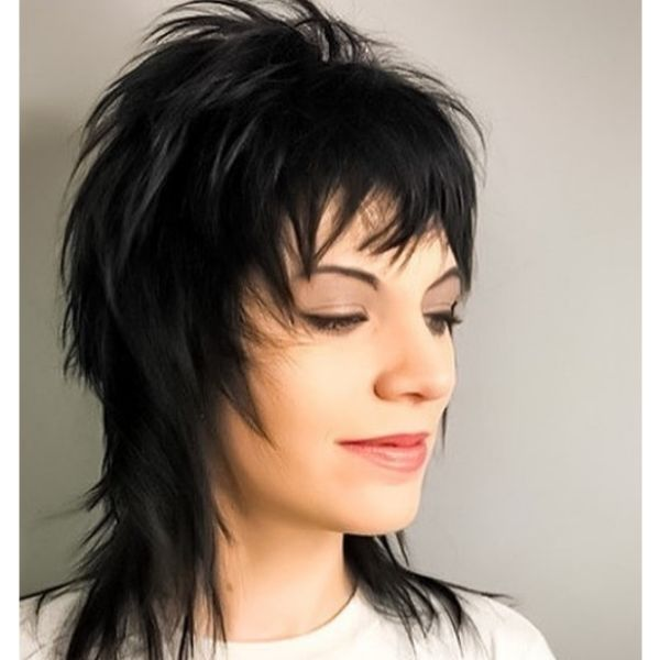 Punk Rock Mullet Hairstyle with Spiky Strands