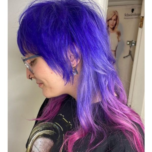 Purple Pink Mullet Hairstyle