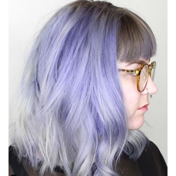 Purple Silver Mid Length Hairstyle with Soft Waves