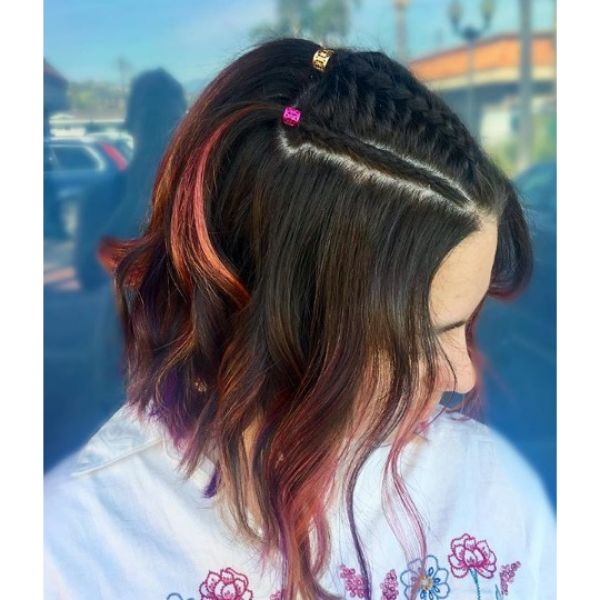 Rainbow Hair with Top Braids Easy Hairstyles for School
