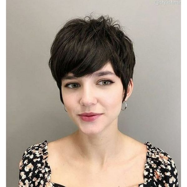 Shaggy Dark Pixie Cut Hairstyle