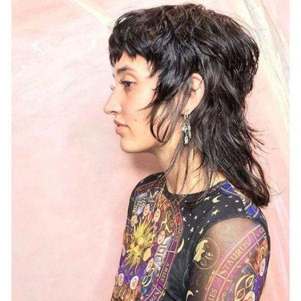 Shaggy Mullet Hairstyle with Dark Shiny Strands