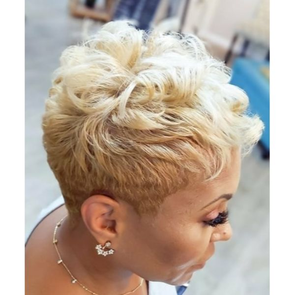 Short Chopped Blonde shaved hairstyles for black women