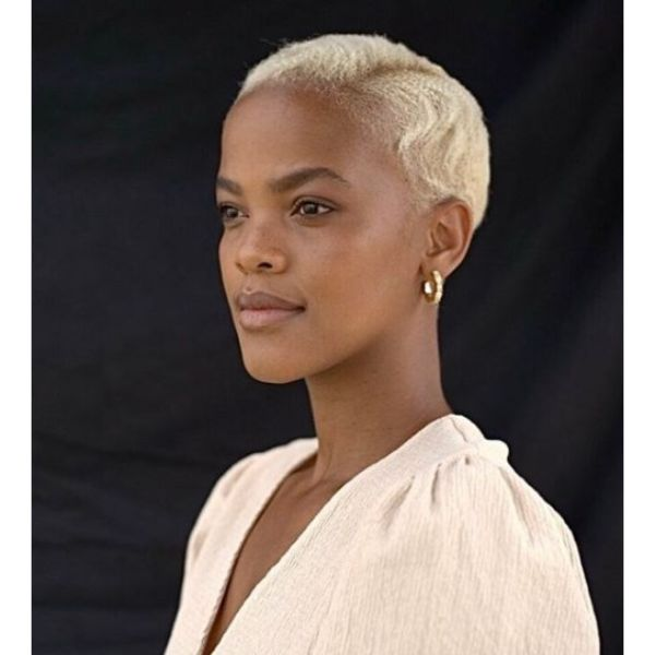 Short Crimpled Hairstyle with Side Part shaved hairstyles for black women