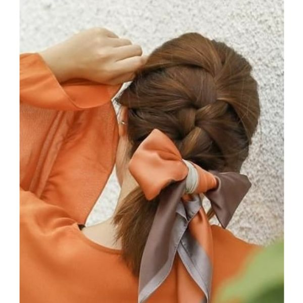 Short French Braid with Big Ribbon Easy Hairstyles for School