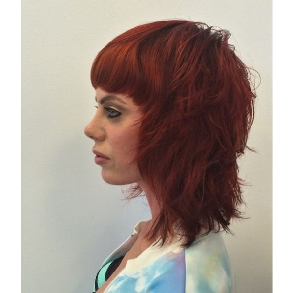 Short Layered Red Mid Length Hairstyle