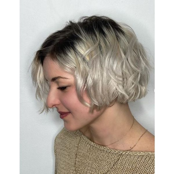 Short Messy Blonde Bob With Dark Roots