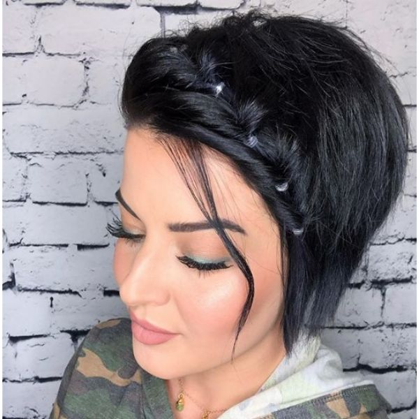 Short Pixie Cut with Faux Fishtail Braid