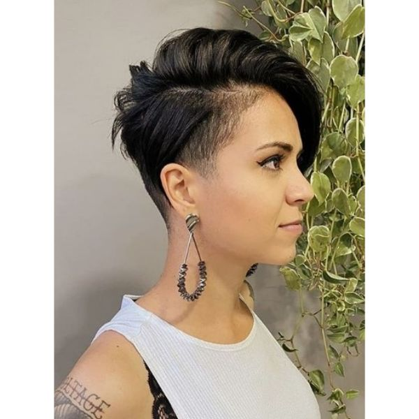 Short Pixie Cut with Razored Sides