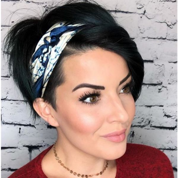 Short Pixie Cut with Satin Scarf Hairstyle