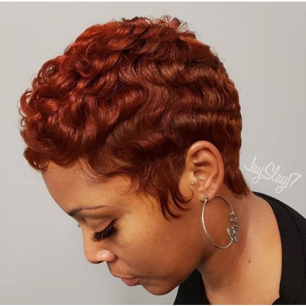 Short Pixie with Finger Waves for Short Copper Curly Hair