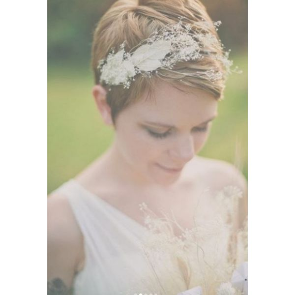 Short Pixie with Flower Band Hairstyle