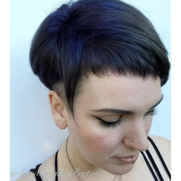 Short Smokey Grey Hairstyle with Baby Bangs