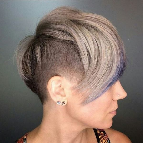 Short Undercut with Blonde Blue Strands