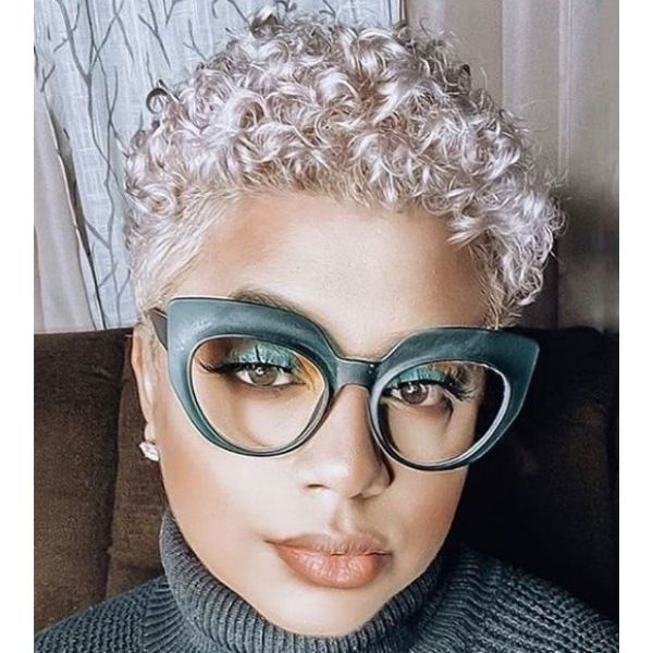 Silver Blonde Afro Hairstyle