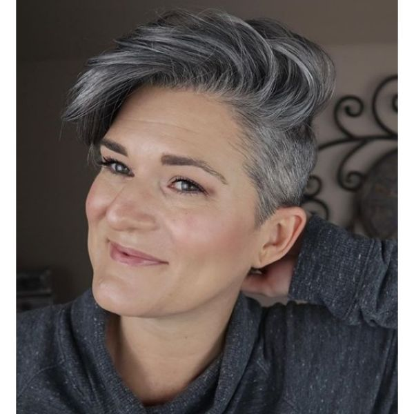 Silver Grey Short Hairstyle with Shaved Side