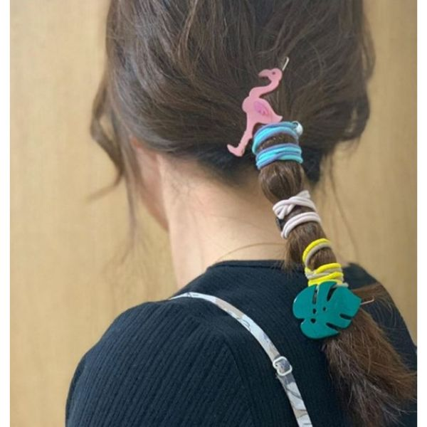 Sleek Ponytail with Colorful Accesories Easy Hairstyle
