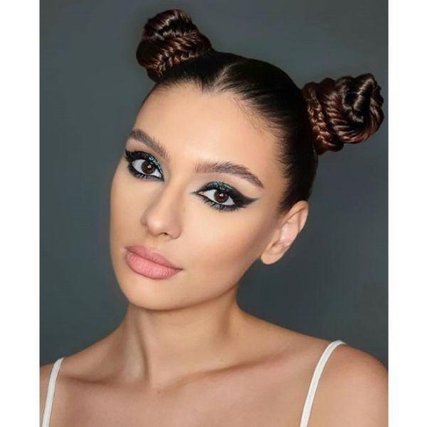 Sleek Shiny Space Buns with Braids Hairstyle