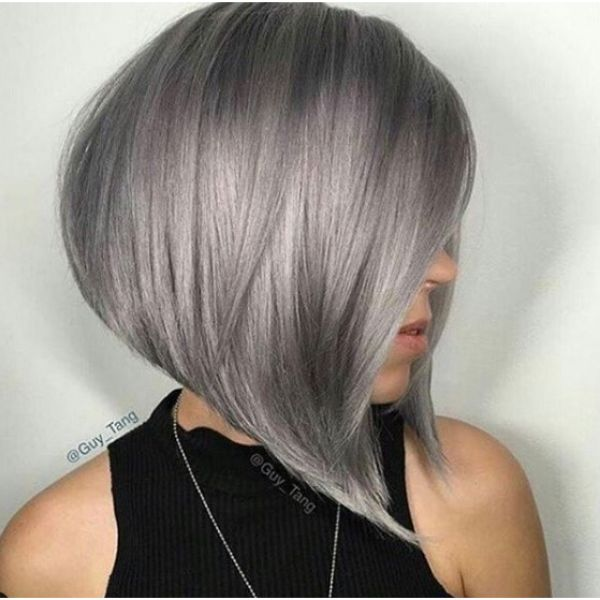 Smooth Long Steel Grey Bob Hairstyle