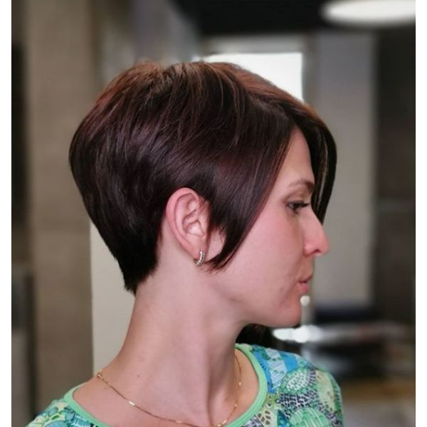 Soft Auburn Pixie Cut Hairstyle