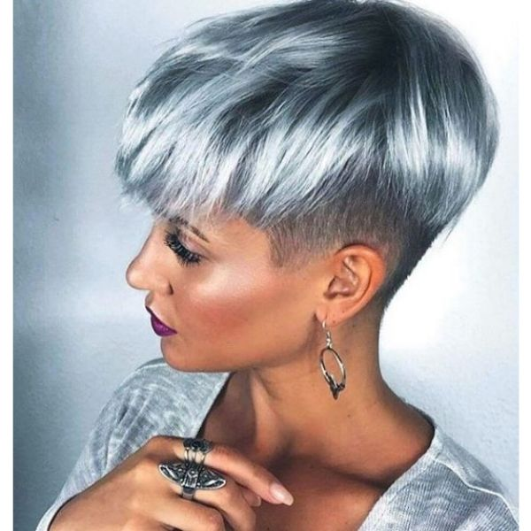 Steel Grey Hairstyle with Dark Strands