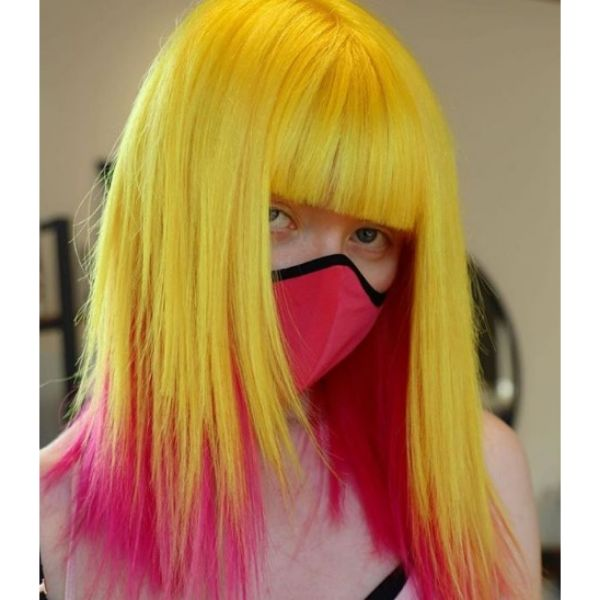 Straight Bright Blonde Mid Length Hairstyle with Pink Tips