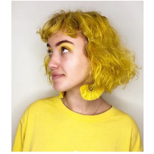 Sunflower Yellow Curly Bob with Bangs