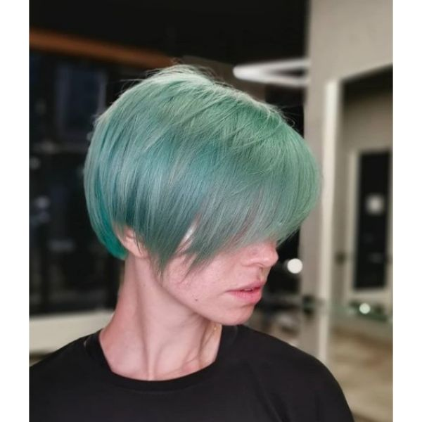 Teal Colored Short Pixie Cut