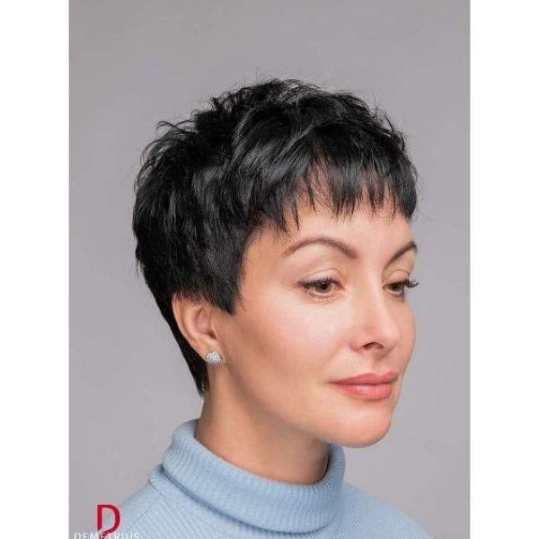 Textured Pixie Hairstyle with Straight Bangs Hairstyle