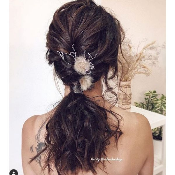 Textured Ponytail with Unique Detail bridal hairstyles