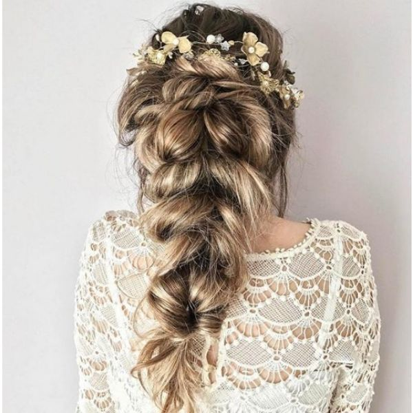 Thick Romantic Hairstyle with Floral Crown bridal hairstyles