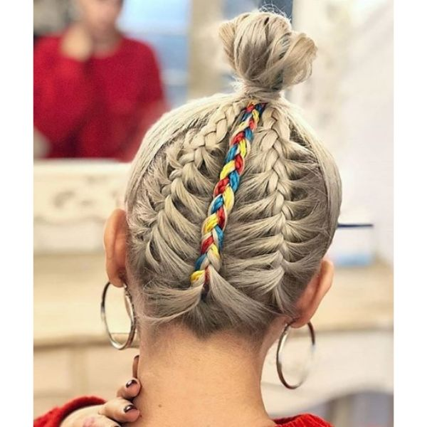 Top Knot with Braids Hairstyle