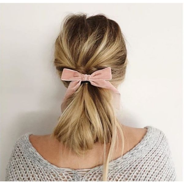 Twisted Back Ponytail with Silky Ribbon easy hairstyles for school