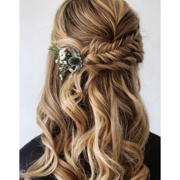 Twisted Fishtail and Tistle With Falling Strands Hairstyle