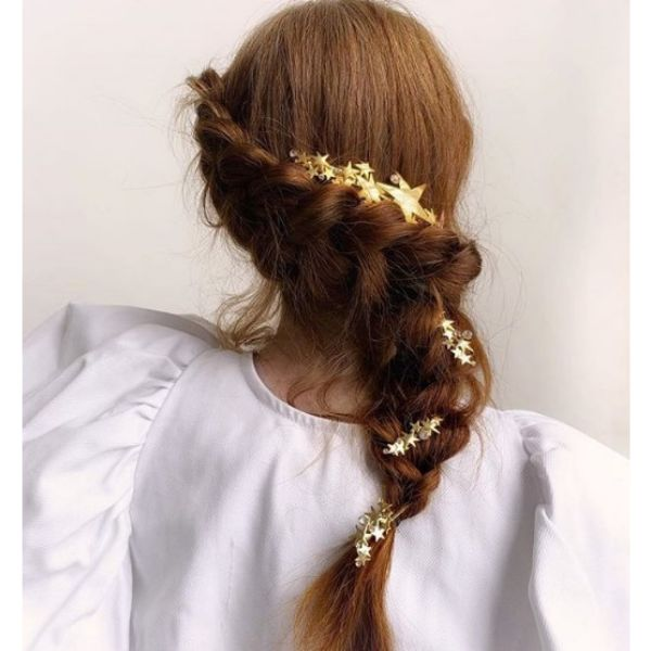 Twisted French Braid with Stars Bridal Hairstyles