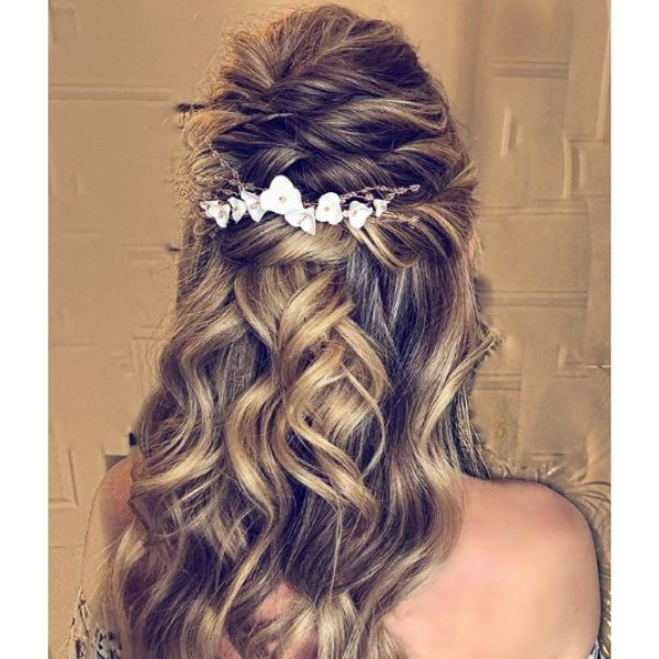 Twisted Hairstyle with Long Waves Bridal Bridal Hairstyles