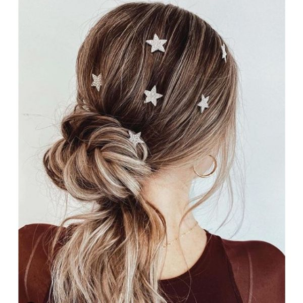 Twisted Ponytail Hairstyle with Stars bridal hairstyles