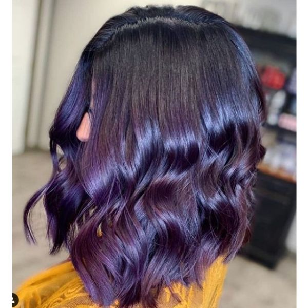 Violet Medium Hairstyle With Dark Roots