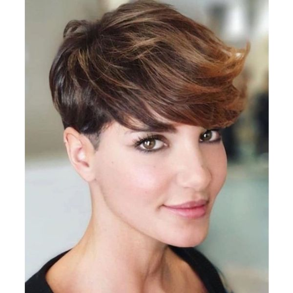Warm Balayage Hairstyle with Soft Pixie Cut