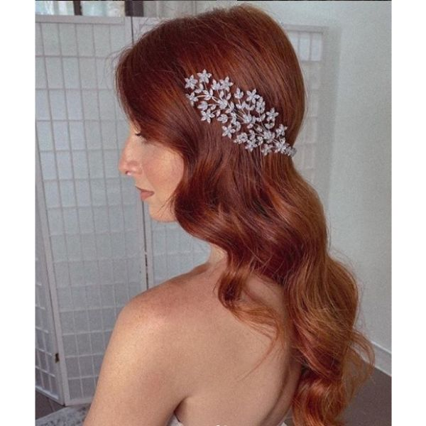Wavy Long Red Hairdo with Hair Piece Bridal Hairstyles