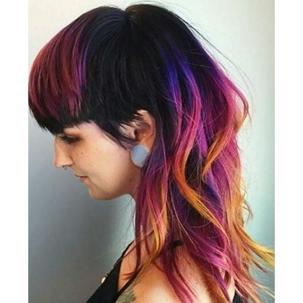 Wavy Shag Mullet Hairstyle with Purple Orange Strands