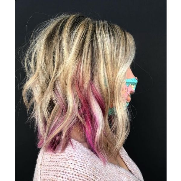 Gray Blended Balayage With Pink Highlights