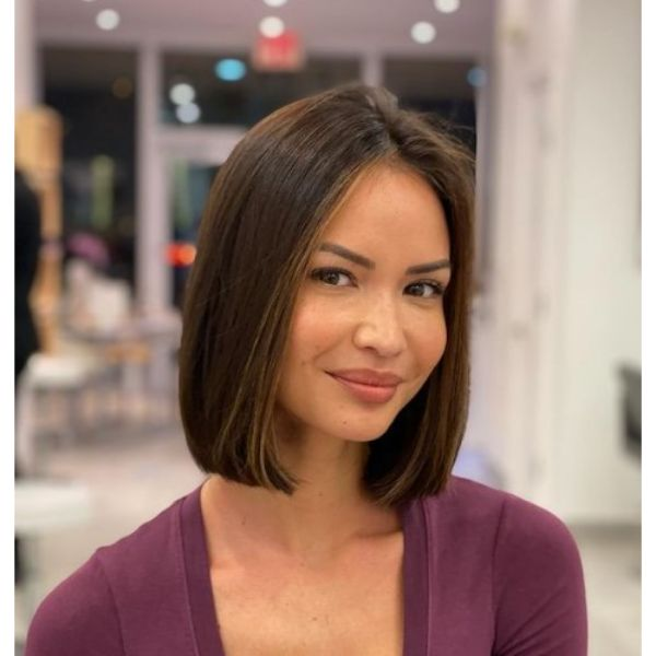 Beautiful Classic Bob with Straight Highlights