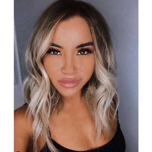 Blonde Balayage with Dark Roots Hairstyle