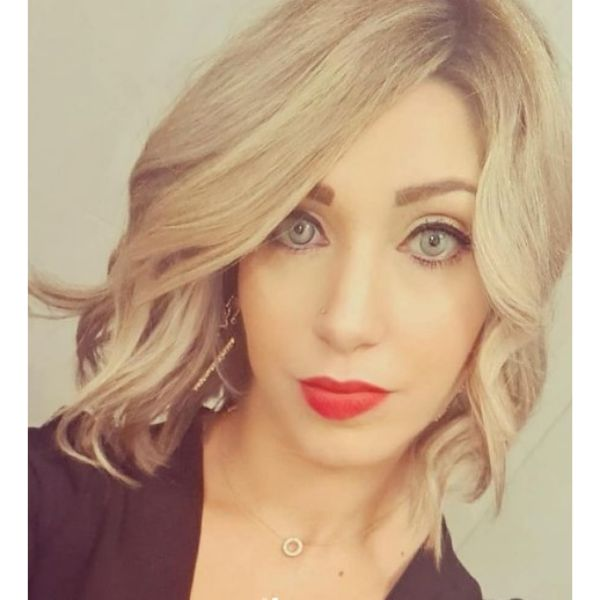 Blonde Wavy Bob Haircut with Soft Curls