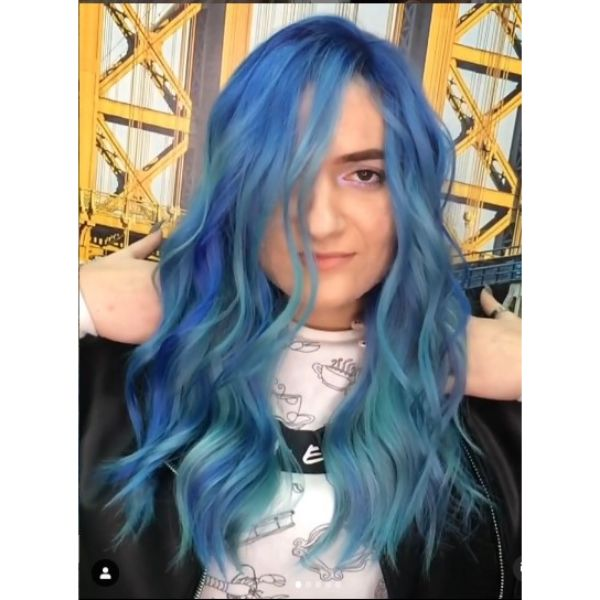 Blue Hair Balayage Long Hairstyle For Wavy Hair