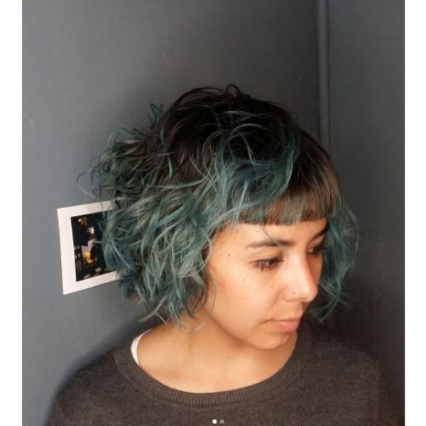 Blue Messy Bob with Baby Bangs Haircuts For Teenage Girls